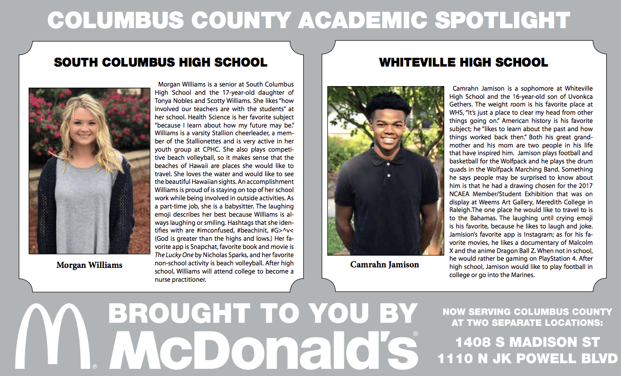 McDonald's Columbus County Academic Spotlight featuring Morgan