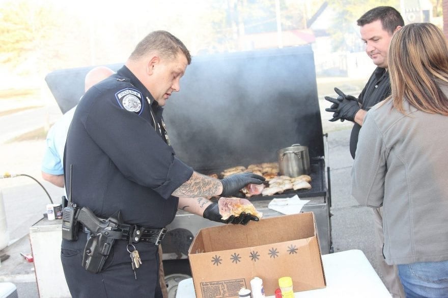 """Chadbourn Police Department kicked off its Community of One program Tuesday with a free meal for residents. Chief Anthony Spivey said the officers came up with the idea as an outreach to help build relations with the town and """"to help people out"""" during the Thanksgiving season."""