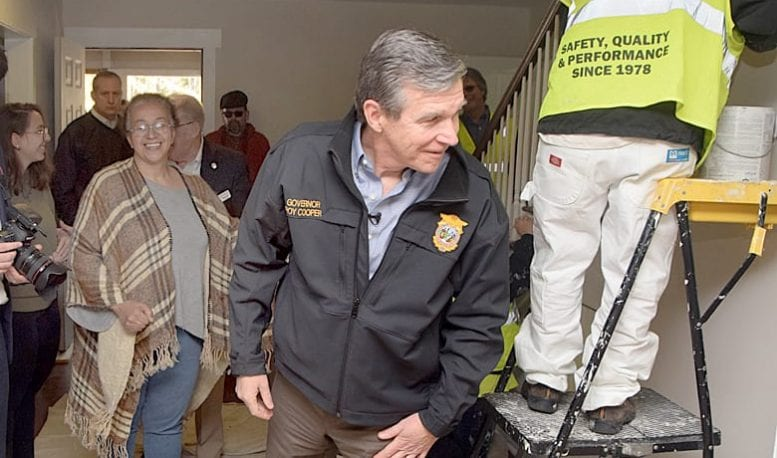 Cooper visits Columbus home to check on hurricane recovery