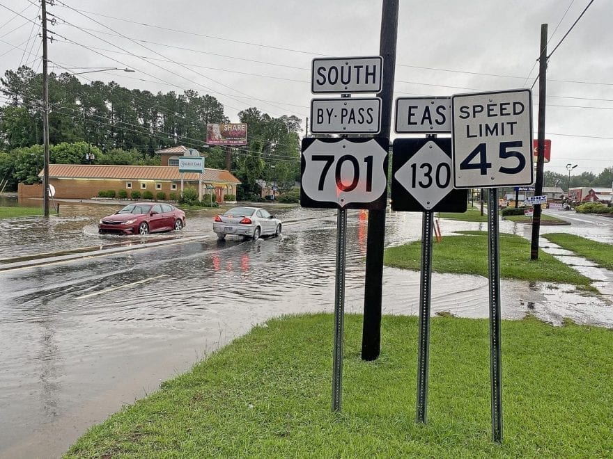 Water was standing on U.S. 701 Bypass near Smith Street in Whiteville.