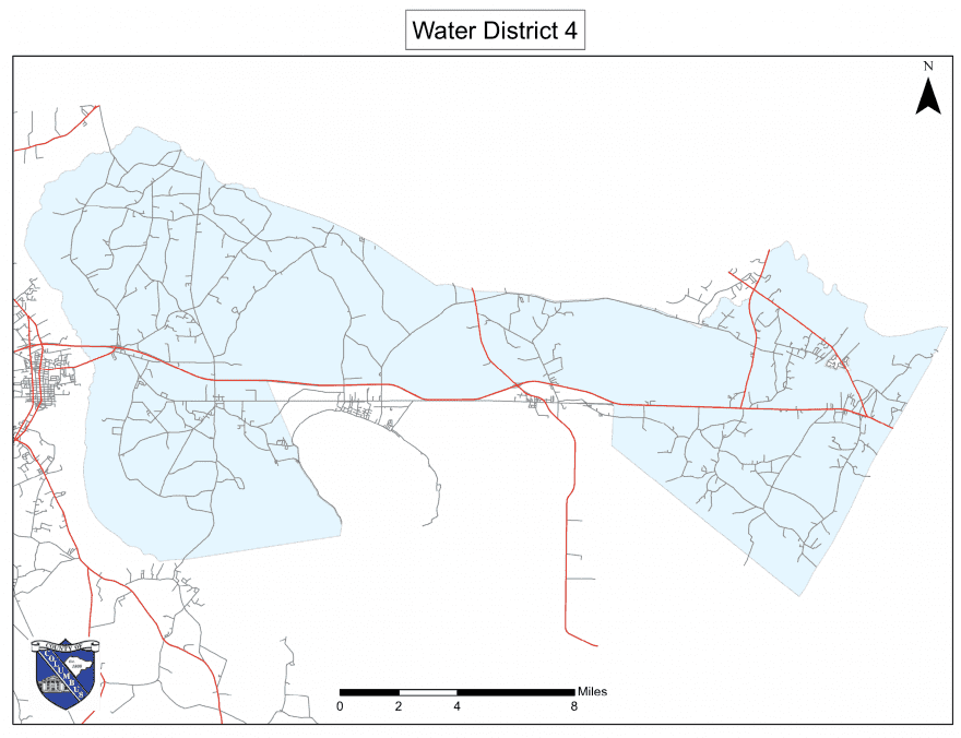 Columbus County Water District IV, shaded in blue, is under a boil water advisory.