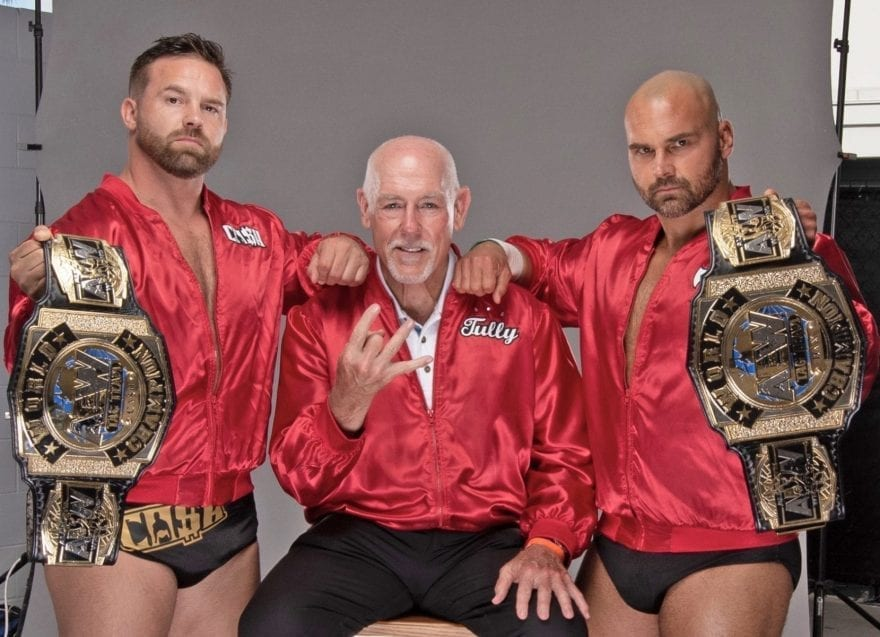 Dax Harwood, right, and his tag team partner Cashe Wheeler, left, were All Elite Wrestling Tag Team Champions from September to November of this year, managed by Tully Blanchard. Photo credit Pro Wrestling Illustrated