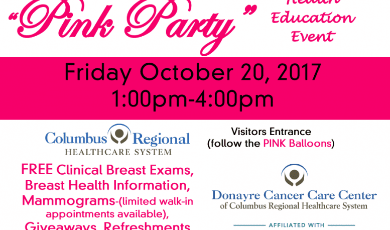 2nd Annual Pink Party Friday, Oct. 20 at Donayre Cancer Care Center